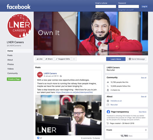 LNER Facebook careers page